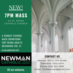 CSU Newman/Young Adult Mass@7:00 pm (@7 on 17th) @ Historic St. Peter Church